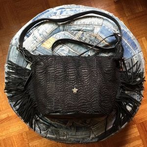 Ash black genuine leather bag with fringe new!